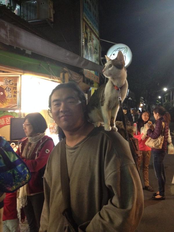 Během čekání na tofu prošel pán, co si nesl na rameni na vodítku přivázanou kočku. To mě docela pobavilo tedy.