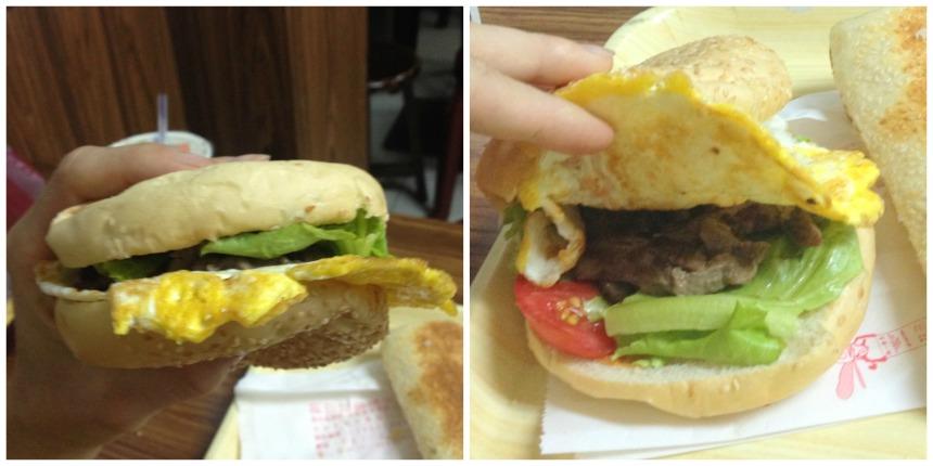 Hamburger s hovězím a vaječnou omeletou