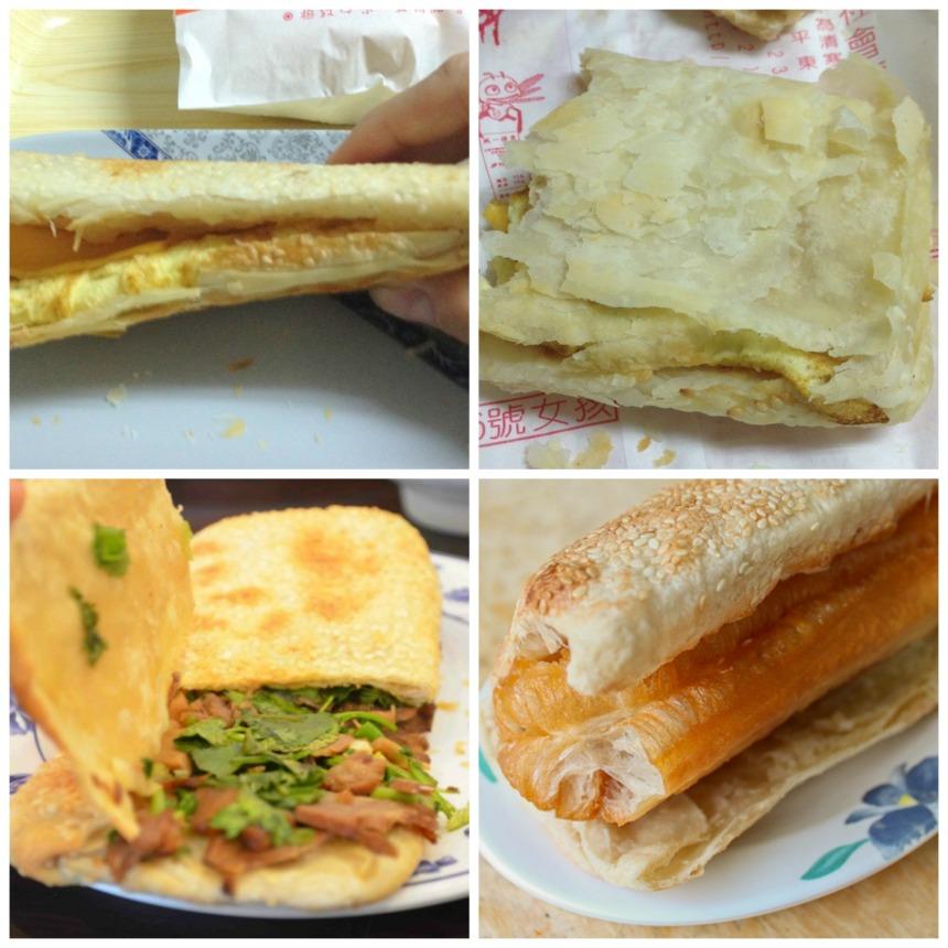 shaobing (zleva doprava, zhora dolů: s vaječnou omeletou a sýrem, rozdrobený shaobing, s hovězím, s youtiao)