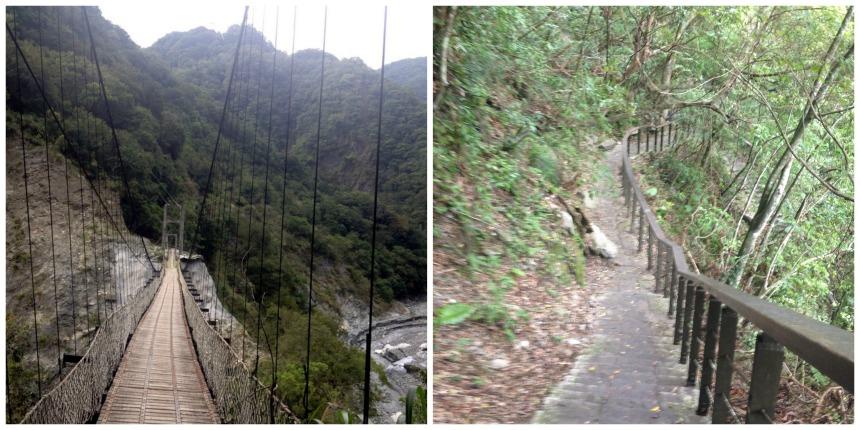 Stezka napravo zaváněla dobrodružství a zřejmě proto byla zavřená. Stezka nalevo byla otevřená pouze na prvních 0.47 km, což bylo schodem za schodem a dalším schodem.
