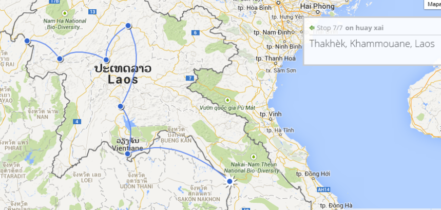Z Vientiane do Thakhek. 3340 km.